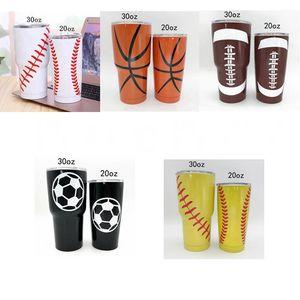 Tumblers Edelstahl Trinkflasche 30 Unzen Softball Tumbler Vacuum Thermos Kreativer Baseball-Car Cup Kaffeetassen Gläser Trinkgefäße EWF1009