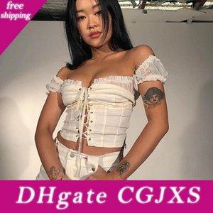 2020031229 Branco Sexy Alças Top Curto Hot Summer Bodycon Bandage Regatas Curto Strap Vest para as mulheres Vintage Lace Up Camis