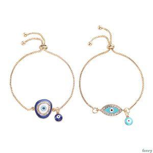 1pc turc Blue Crystal Eye Bracelets mal à la main Chaînes d'or de bijoux chanceux