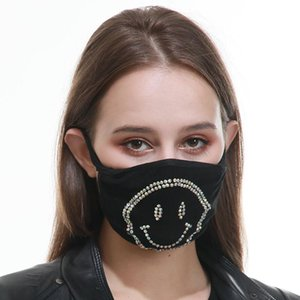 Fashion Black Face Masks Protective Mask ultraviolet-proof Dustproof Riding Cycling Sports Letter Rhinestone Mouth Masks Men Women Outdoor