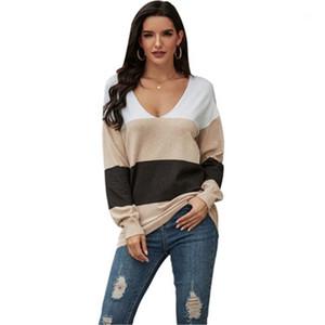 Pull Fashion Tendance Colorblock en vrac tricot Tops Designer Automne Femme Casual manches longues Pulls Vêtements Femmes V-cou Lazy