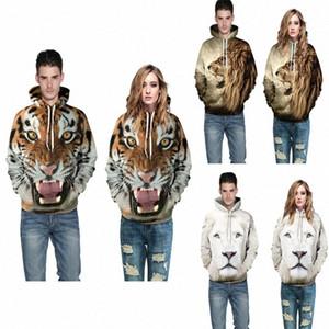 2017 New Lovers beiläufige Hoodies-Sweatshirt-Pullover Langarm-3D-Druck Tiger Löwe Pullover Herbst Winter Kleidung lose fre 9v5U #