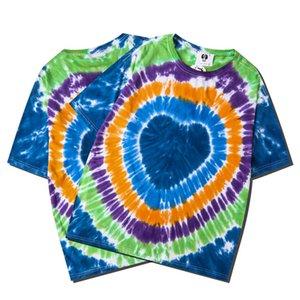 Cotton Tie Dye Print T Shirt Women Men Top Tee O-neck Short Sleeve Female T-Shirt Streetwear Oversized Couples Top Casual TShirt
