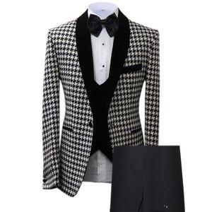 2020 New Men's Suits Prom Tuxedos 3 Piece Houndstooth Plaid Wool Wedding Groom(Blazer+Vest+Pants)