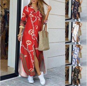 2020Fashionable Bouton style de chemise habillée Avslappnad Long Street Robe de grande taille en vrac Accueil Imprimer Robe Femmes Commuter
