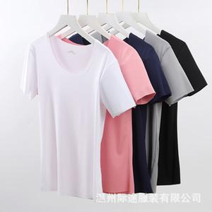 kurzer Rundhals Gewinde Ice nahtlose Frauen Hülse weiße T-Shirt Milch Silk Top Milch Silk Top schnell Hand TikTok Live-halbe Hülse dy2tu