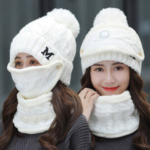 Inverno Ciclismo Hat Mulheres 3 peças de lã quente Gorros Skullies Chapéus Com Máscara Collar Bib fêmeas de espessura de veludo Anti-fumaça Knit Caps