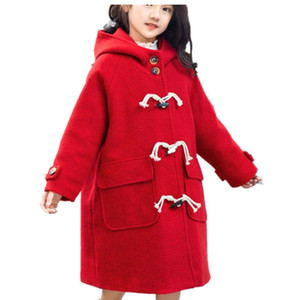 Girls Red Woolen Winter Wool Coat Kids Hooded Blends Coats Horn button Woolen Outerwear