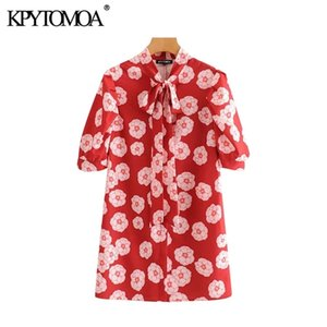 KPYTOMOA Women 2020 Chic Fashion Floral Print Mini Dress Vintage Bow Tie Collar Short Sleeve Female Dresses Vestidos Mujer0924