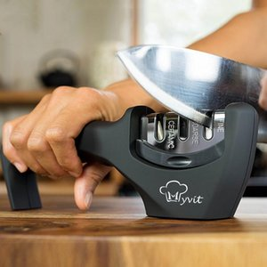 Aiguiseur 3 étapes Cuisine professionnelle Affûtage couteaux de pierre Moulin Whetstone tungstène diamant céramique Sharpener outil