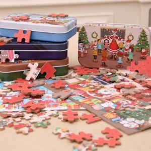 60pcs / set de Navidad rompecabezas de madera de los niños juguetes de Santa Claus muñeco de nieve doble Jigsaw niños educativos para la primera Jigsaw regalo por GGA3678 mar