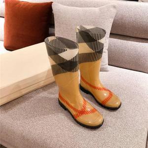 couleur assortie dame plaid tête circulaire bottes, moyen usure - semelles caoutchouc glissement bottes de pluie faible talon - résistant et non