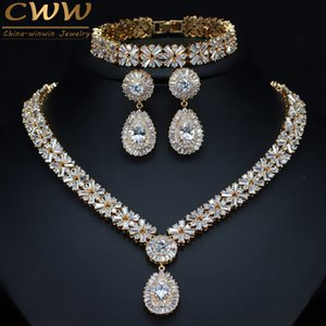 CWWZircons Exclusive Dubai Gold Color Jewellery Luxury Cubic Zirconia Necklace Earring Bracelet Party Jewelry Set For Women T053 C19010301