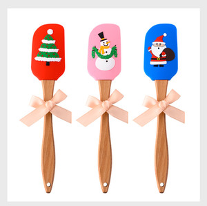 Christmas Silicone butter scraper Food grade Small silicone spatula 3D Christmas pattern home baking wood handle tool 25cm FFA4451