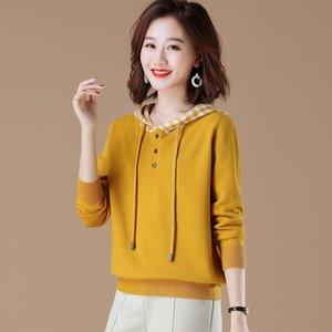 bXoaV usura sciolto esterno 2020 New Spring breve maglione della parte superiore della molla maglione del cappotto e l'autunno sottile maglia top stile coreano delle donne incappucciate