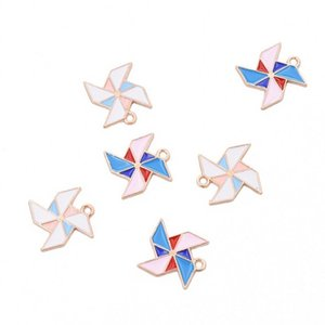 Bulk 200pcs Paper Windmill Charms Enamel pinwheel charms pendant fit Bracelet Necklace Jewelry Accessories free shipping
