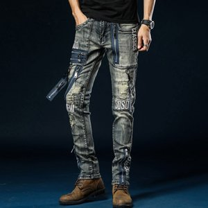 Multi Zipper Jeans Hommes Biker Punk Rock Denim pantalons hommes Slim Fit Denim Jeans Rip Biker Mens broderie Motorcycle