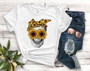 Tournesol Crâne Bandana femmes Imprimer T-shirt Coton Casual T-shirt drôle cadeau pour Lady Yong Girl Top Tee-shirts en ligne PM 110 T-shirt De do1D #