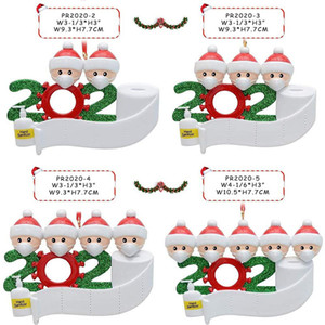 Christmas Quarantine Ornaments Customized Gift Survivor Family of 1-7 Hang Decoration Snowman Pendant With Face Mask Hand Sanitizer