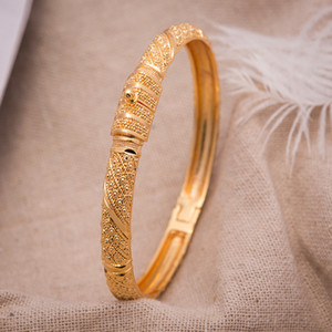 1Pcs Women Bangle Gold Color Bangles for Women Bride Can OPen Bracelets  Ethiopian france African Dubai Jewelry gifts