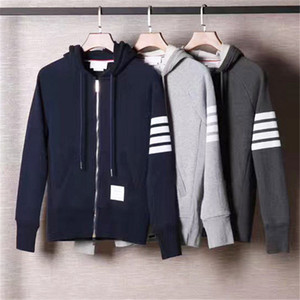 Top Quality Loopback Jersey Cotton Knit ENGINEERED 4-BAR Arm listra zip-up Hoodie clássico tb Sports Casual Cardigan das mulheres dos homens da camisola