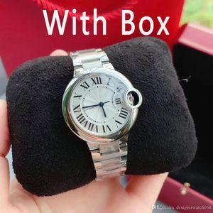 С часами влюбленных Box Горячая продажа Пара женщин Мужские часы Мода из нержавеющей стали Кварцевые Наручные для мужчин дамы лучший подарок Валентайн