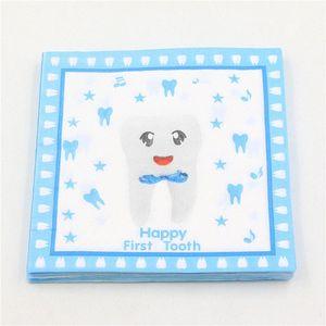 Al por mayor azul Feliz primer diente Impreso servilleta de papel de la servilleta por tipo partido Decoupage Festas de tejido Servilleta 33cm * 33cm 20pcs / pack / BID #