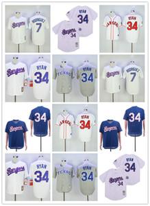 2020 Мужчины Женщины и молодежь Техас 34 Нолан Райан 7 Иван Родригес Рейнджерс Бейсбол Джерси Logos 100% прошитой ретро белый синий бейсбол Джерси