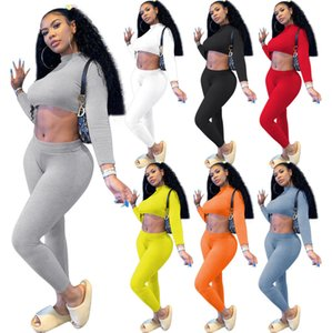 Women Tracksuit 2 Piece Set Ribbed Yoga outfits Fashion Long Sleeve Crop Top Shirts Stretchy Rib Leggings Gym Sets ladies Sports Suits L367