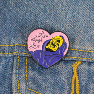 Pink Heart Skull Pins Skeleton Brooches Enamel pins Badges Lapel pins Skeleton jewelry Punk jewelry