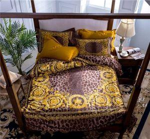 100s Cotton Design Brand 5pcs Luxury Leopard Print Bedding sets king size Quilt cover pillow case King queen size duvet coverQQ