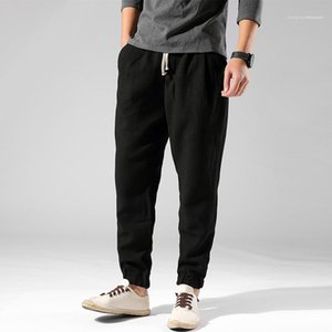 Male Designer Trousers Mens Solid Color Linen Casual Pants Spring Autumn Retro Loose Lace Up Feet Pants