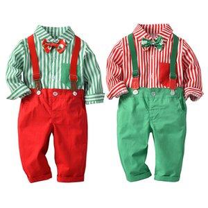 2020 Nouveaux Enfants Bébés garçons Vêtements de Noël Ensemble chemise à manches longues + Jarretière Pantalons 2Pcs / Set Tenues costume pour les garçons tout-petits 12M-4T