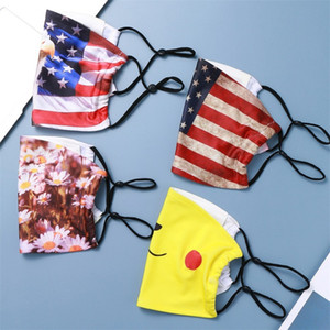 Impression respirateurs Papier Amérique argent Drapeaux Eagle avec filtre Piece Masques de fleur de marguerite visage étoiles réutilisable Mascherine 4 Lavable 2xta C2