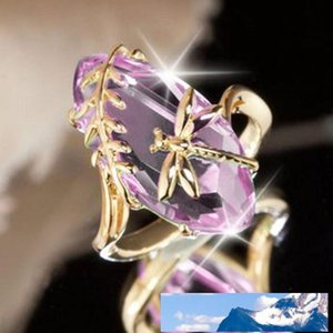Vintage Green Pink Stone Gold Dragonfly Rings for Women Girl Anniversary Birthday Ring Gift Jewelry Shiny crystal ring drop ship