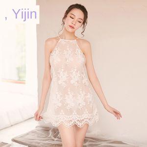 J1kix Yi Yi pijamas transparentes de la ropa interior ropa interior de tul bordados pijamas correa sin espalda vestido corto cruz bordada atractiva