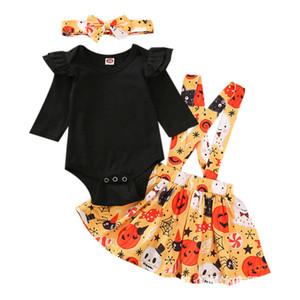 Kız bebekler Askı Elbise My Frist Cadılar Bayramı Baskılı tulum Çocuklar Nokta Etekler Bebek Karikatür Braces Elbise Suit Bebek yenidoğan Giyim 060905