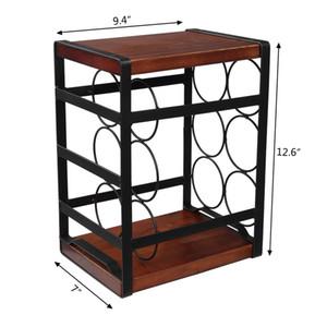 WACO Aufsatz- Weinregal, Tisch Holz Wein-Halter für 6 Flaschen, 3-Tier Rustic klassischer Entwurf, stabiler Griff Einfache Montage Metall schwarz