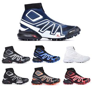 Смешанные цвета Snowcross CS Trail зима снег мужчин сапоги Черный Вольт Синий Красный красный носок Chaussures мужские Кроссовки Winter Snow Загрузочные обувь 40-46