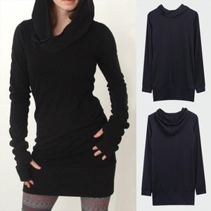 Womens Cotton Casual Long Sleeve Black Pencil Hoodies Sweatshirt Laides Long Tops Sweat Shirt Hoody Sweatshirt Mini Dress