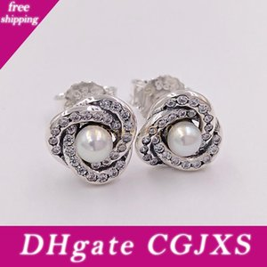 Authentic 925 Sterling Silver Studs Luminous Love Knots Earrings Fits European Style Studs Jewelry