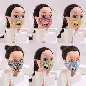 Trinken Holes Plaid Mascarilla wiederverwendbare Baumwollgesichtsmasken können Filter Stück Mode Respirator Mens-Dame Waschbar PM 2.5 Protect 5xl C2 Setzen