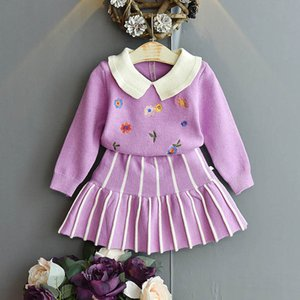 2020 new Autumn Winter knitwear girls suits fashion sweater girls outfits flower knitted sweater+Skirts 2pcs set kids clothes B2017