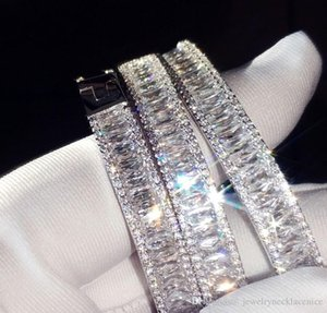 Choucong New Arrival Stunning Luxury Jewelry 925 Sterling Silver Fill Full Princess Cut White Topaz Bracelet Wedding Bangle For Women Gift