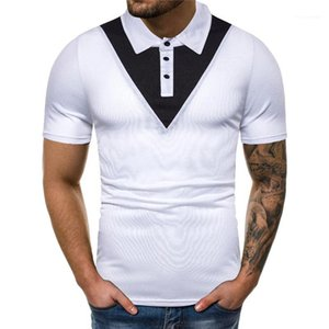 Casual Short Sleeved Natural Color Polos Mens Clothing Mens Designer Patchwork Polos Fashion Panelled Colors Collar Polos