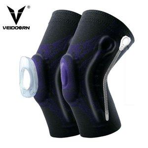 Rodilla Veidoorn 2 piezas de compresión Soporte protector de la manga elástica rodillera Brace resortes gimnasio de deportes de baloncesto voleibol de reproducción