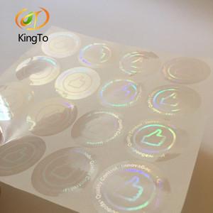 Lucha contra la falsificación pegatina redonda superposición holograma transparente con logotipo personalizado