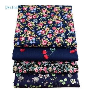DwaIngY pequeña serie de flores, patrón impreso Verano Ropa de tela de seda de imitación falda Dr. camisa de material Medidor de medio metro
