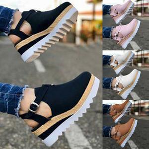 بالاضافة الى حجم 35-43 منصة الصنادل أسافين أحذية للنساء الكعوب Sandalias موهير الصيف السدادة إمرأة Zapatos دي هومبر