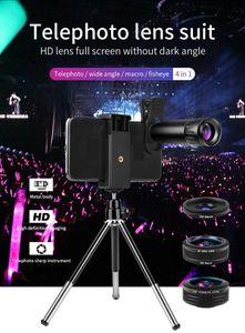 Telefonia Holder obiettivo 22X Teleobiettivo 4K 120 ° grandangolare 15X Macro Lens 180 ° Fisheye telescopio con Metal treppiede